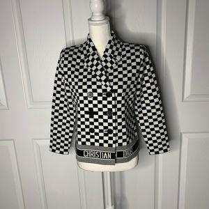 NWOT vtg christian dior wool  chess print blazer